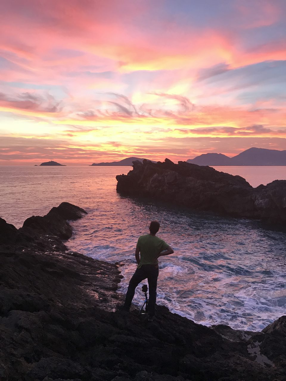 About me - On the field in Tellaro, during an atomic sunset